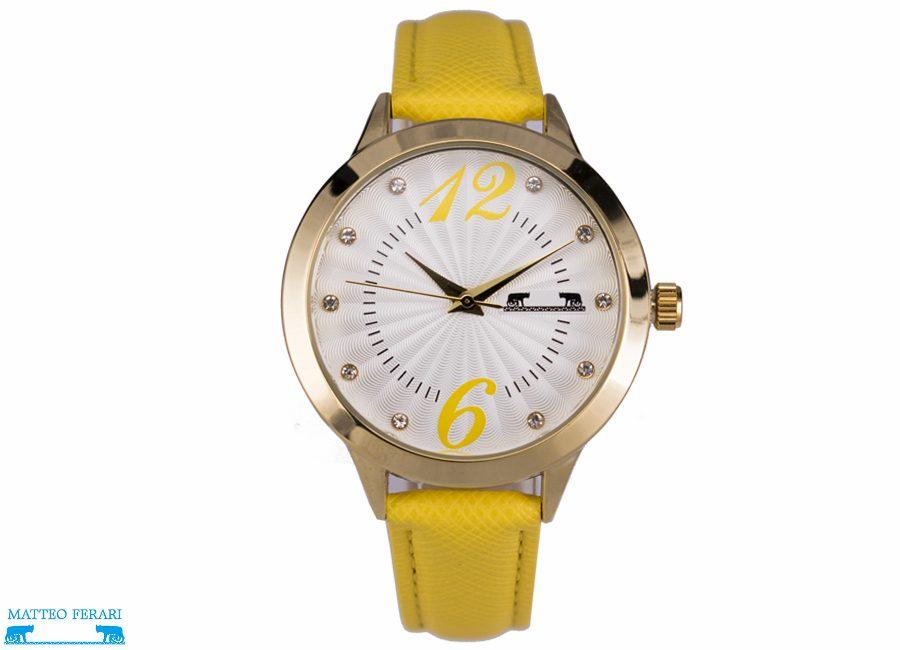 Ceas Dama Matteo Ferari Yellow/Gold Casual XV