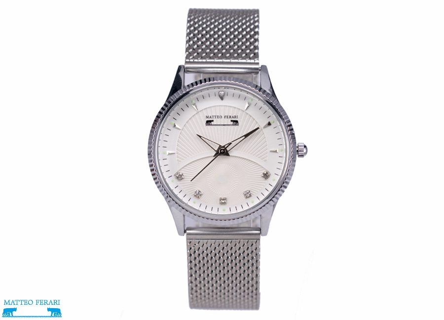 Ceas Dama Matteo Ferari Silver/White Elegant XVIII