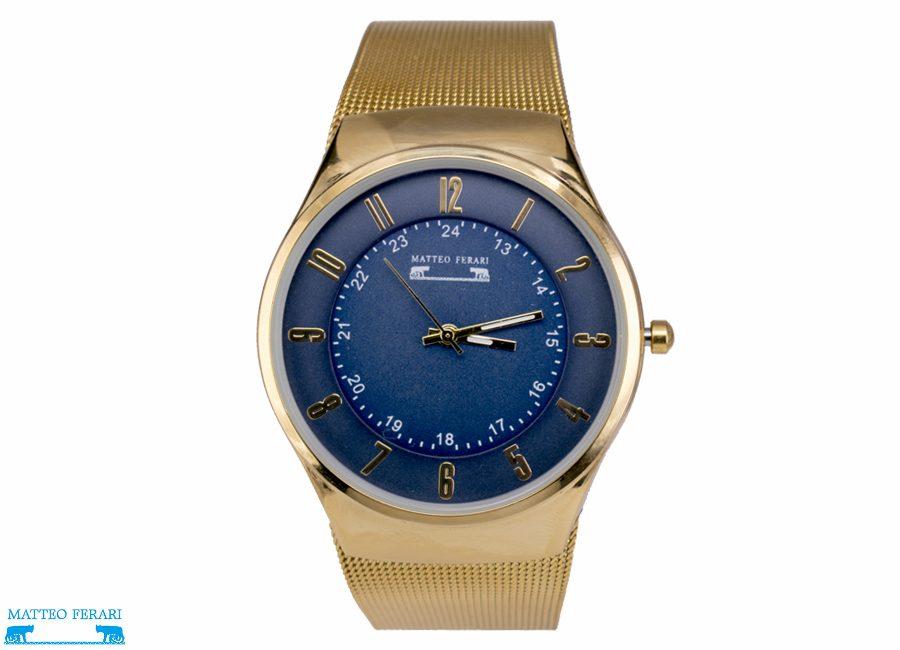Ceas Unisex Matteo Ferari Gold/Blue Elegant I