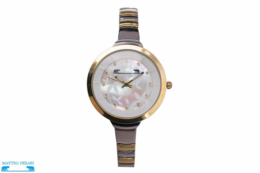 Ceas Dama Matteo Ferari Gold&Silver/White Elegant XI